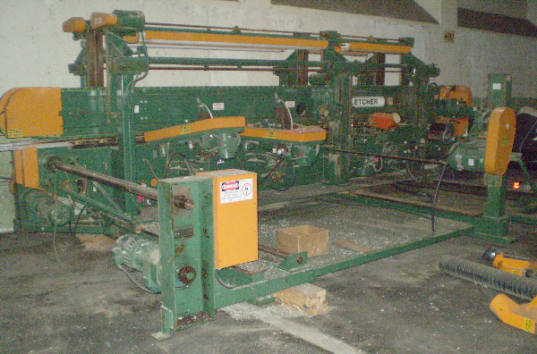 FLETCHER FM-200 DOUBLE-END FEED-THRU TRIM, SHAPE, AND SAND MACHINE