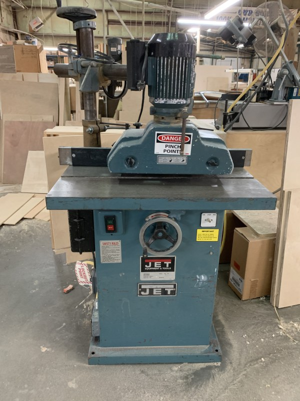 JET WSS-3-3 SINGLE-SPINDLE SHAPER WITH JET 3-ROLL FEEDER