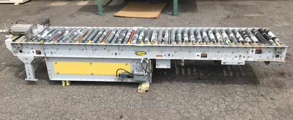 24 WIDE x 11 LONG POWER ROLLER CONVEYOR WITH INTEGRATED LATERAL BELT FEED SYSTEM