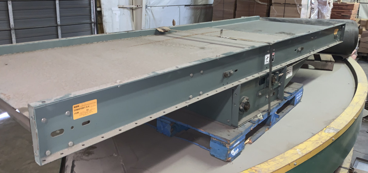 (4) 36 X 10 SECTIONS OF HYTROL TH BELT CONVEYOR WITH DRIVE-BELT REMOVED
