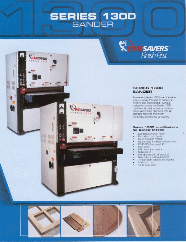 NEW TIMESAVERS 1000 SERIES WIDE-BELT SANDERS