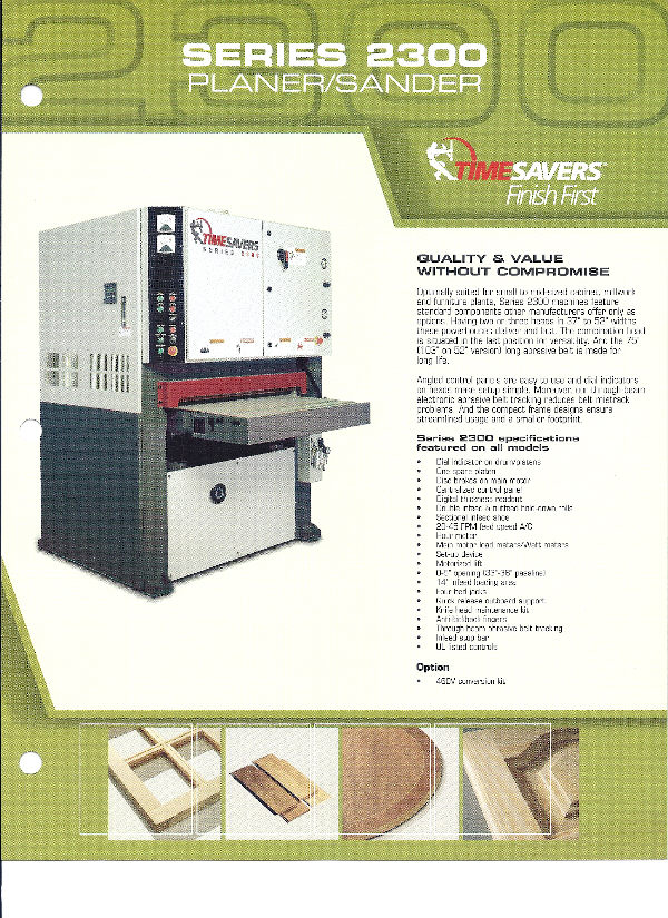NEW TIMESAVERS 2000 SERIES  PLANER-SANDER